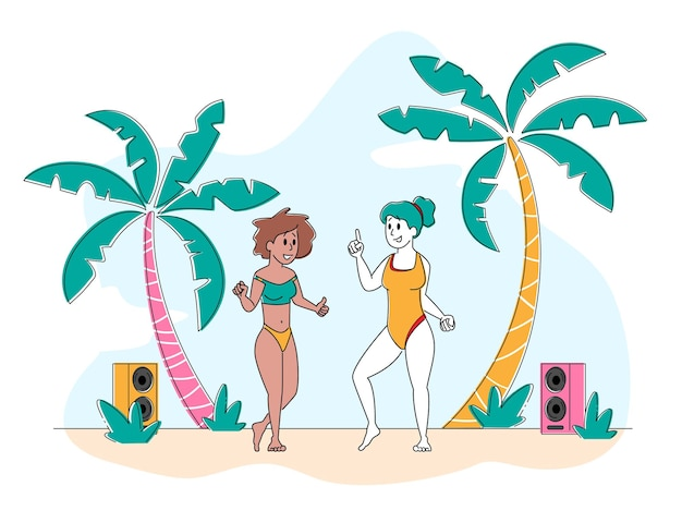 Young girls characters wearing swim suits dancing on seaside at summer beach party