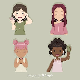 Young girls enjoying and listening to music
