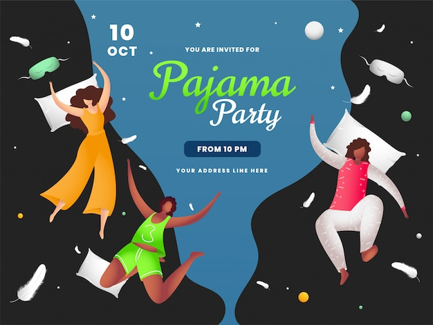 Young girls enjoying with flying pillow on the occasion of pajama party. can be used as banner