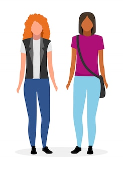 Young girls flat  illustration.