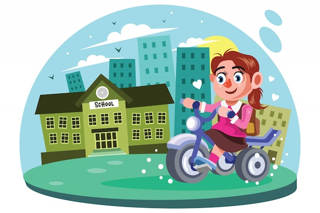Young girls go to school vector illustration