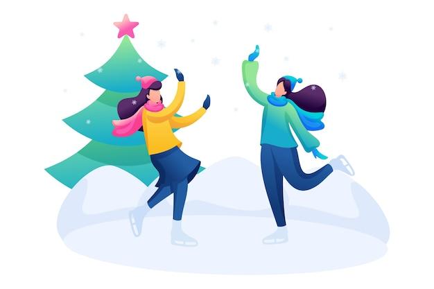 Молодые девушки веселятся на катке, катаются на коньках, зимние развлечения.