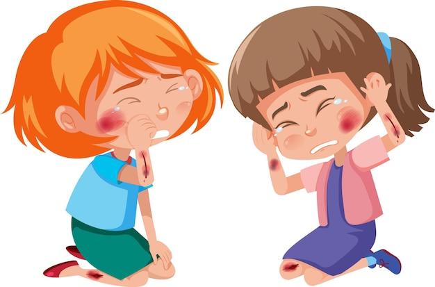 Молодые девушки ранены в щеку и руку мультипликационного персонажа
