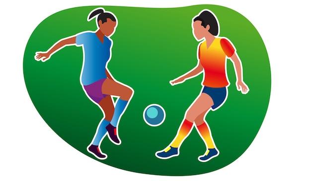 어린 소녀들이 축구를 합니다. 벡터 일러스트 레이 션. 운동복을 입은 소녀들은 공중에서 스포츠를 하러 들어갑니다. 활동적인 스포츠 게임. 남녀 평등. 여성을 위한 평등한 스포츠 기회. 플랫 스타일.