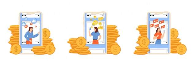Young girls promote personal pages and earn money from blogging.