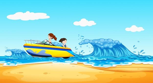 Молодые девушки верхом на лодке в океане