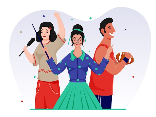 Young girls singing a song and rugby player character on white background.