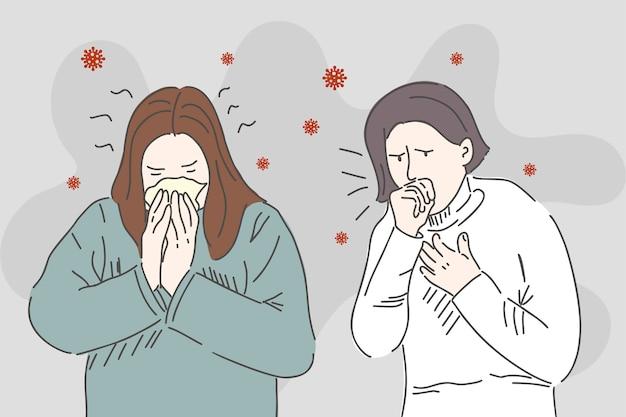 若い女の子はくしゃみと咳をします。カロナウイルスの症状。直線的なスタイルで描画します。トレッド保護コンセプト。