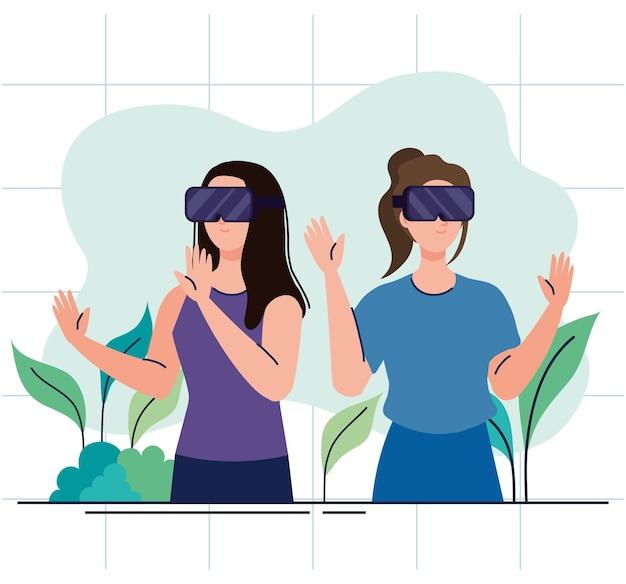 Молодые девушки используют устройства технологии виртуальной реальности маски
