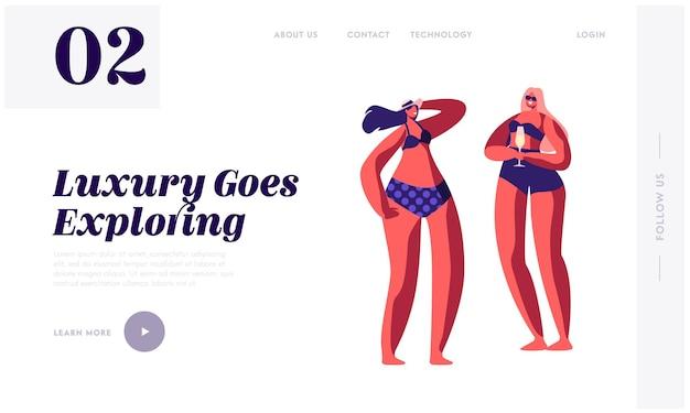 Молодые девушки в бикини и солнцезащитных очках расслабляются и пьют коктейли на роскошном тропическом приморском курорте. шаблон целевой страницы веб-сайта