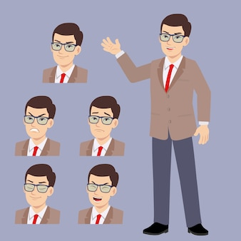 Young glasses office man suits with different face expression