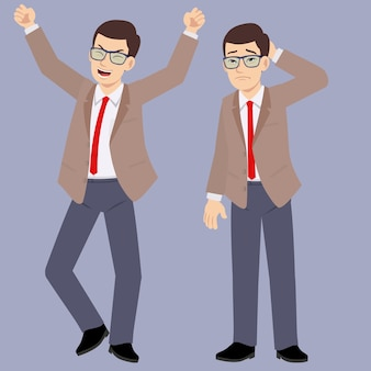 Young glasses office man suits with happy and unhappy emotion