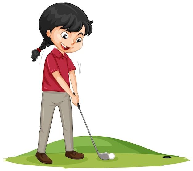 ゴルフをしている若いゴルフプレーヤーの漫画のキャラクター