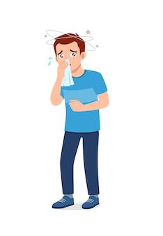 Молодой красивый мужчина чувствует грипп и боль