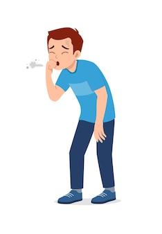젊고 잘 생긴 남자는 아프고 기침을 느낀다
