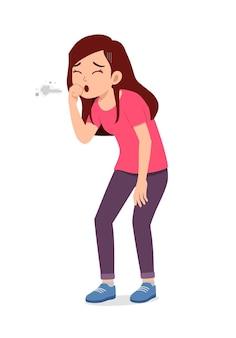 젊고 잘 생긴 여자는 아프고 기침을 느낀다