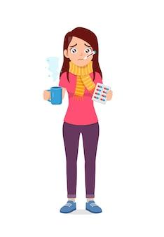 若い格好良い女性は気分が悪くなり、薬を服用します