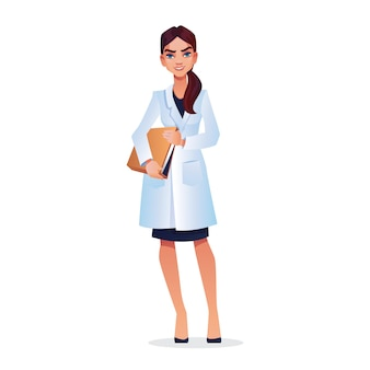 Young graduate student doctor nurse veterinarian with documents in hands in white cloak isolated