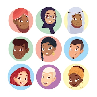 Young group of diversity characters