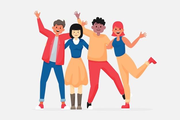 Молодая группа людей, проводящих время вместе
