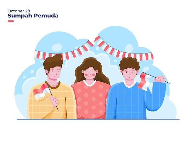 若いグループの人々は10月28日のイラストでインドネシアの青年の誓いまたはsumpahpemudaを祝います