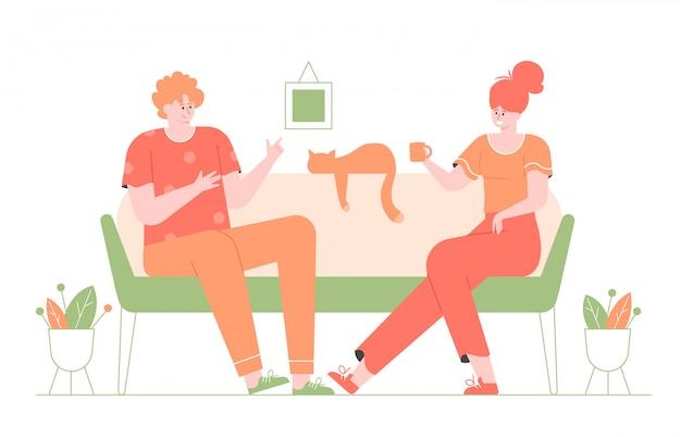 若い男と女がソファのリビングルームに座っています。かわいい猫が近くにいます。彼らは話し、夕方には家の快適さで楽しみます。モダンなカラフルなフラットイラスト。