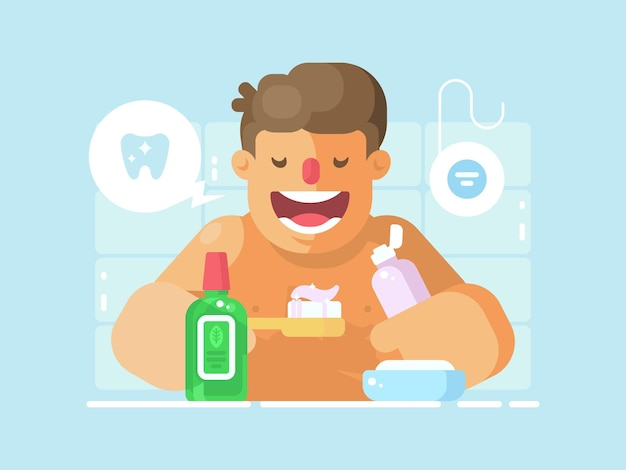 Young guy brushing teeth with whitening paste. personal hygiene of mouth .  illustration