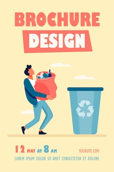 Молодой парень несет сумку с мусором в мусорную корзину, шаблон флаера