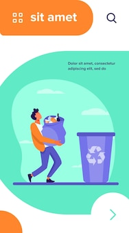 Young guy carrying bag with garbage to trash bin. container, rubbish, junk flat vector illustration