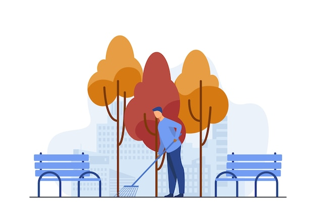 Молодой парень чистит улицу от осенних листьев. осень, скамейка, парк плоский векторные иллюстрации. сезон и род занятий