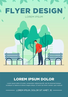 Young guy cleaning street from autumn leaves. fall, bench, park flat vector illustration. season and occupation concept