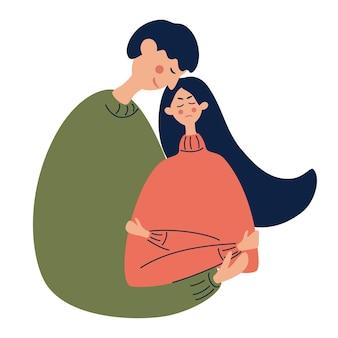 좌절한 소녀를 안아주는 젊은 남자 불행한 슬픔에 잠긴 여자 또는 긴장된 학생 정신 건강