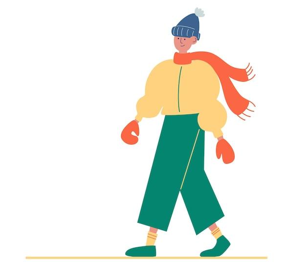 Молодой парень в зимней одежде. хипстерский мужчина. зимняя теплая повседневная современная модная одежда. персонаж человека, идущий в теплой куртке, перчатках, шляпе, брюках, обуви. векторная иллюстрация