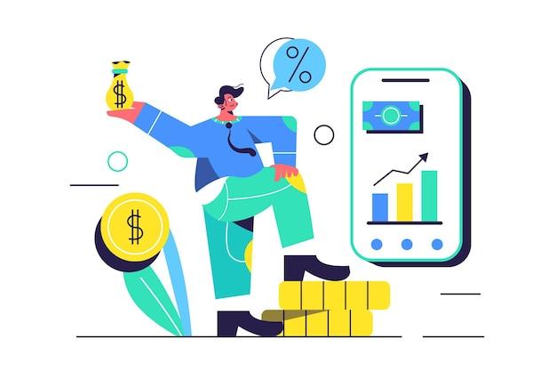 Молодой парень занимается финансовыми делами, большой мобильный телефон с графиками на белом фоне, плоская иллюстрация