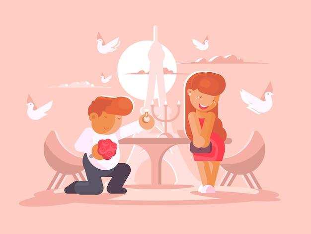 젊은 남자가 무릎을 꿇고 여자 친구와 결혼을 제안합니다. 평면 그림