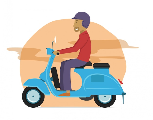 Young guy riding classic scooter motorcycle