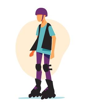 Young guy wearing rollerblades and helmet Premium Vector