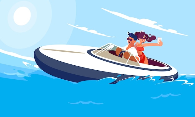 Young guy with a girl ride a boat on the sea on a sunny summer day. girl makes selfie with her boyfriend on a moving boat.