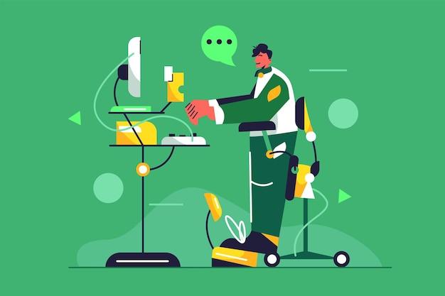 Молодой парень работает за компьютером за подъемным столом на стоящем стуле, изолированном на зеленом фоне, плоская иллюстрация