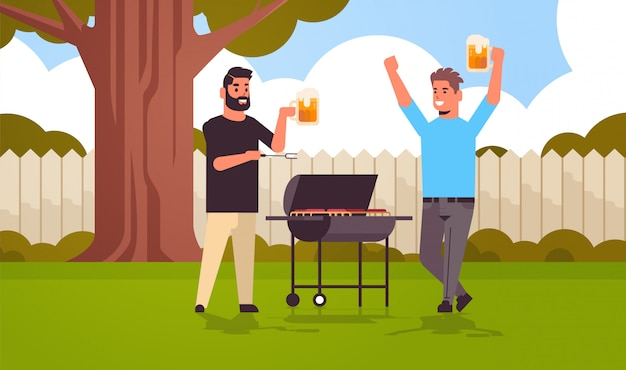 Young guys couple preparing meat on grill men drinking beer outdoor friends having fun backyard picnic barbecue party concept flat full length horizontal