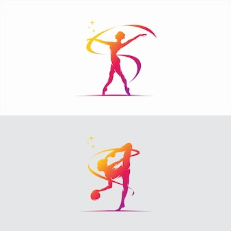 Young gymnast woman dance with ribbon logo