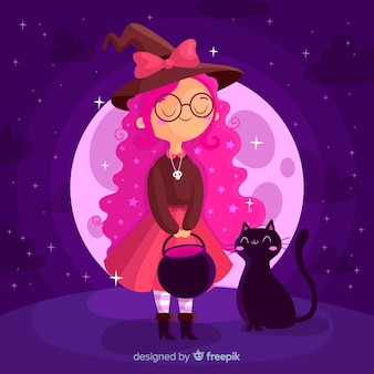 Young halloween witch with black cat