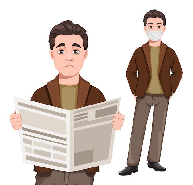 신문을 들고 마스크에 서있는 젊은 잘 생긴 비즈니스 남자