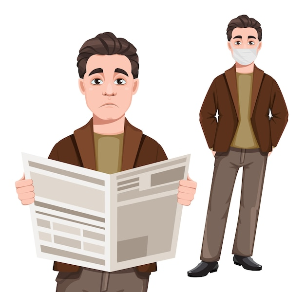 Young handsome business man holding newspaper and standing in mask