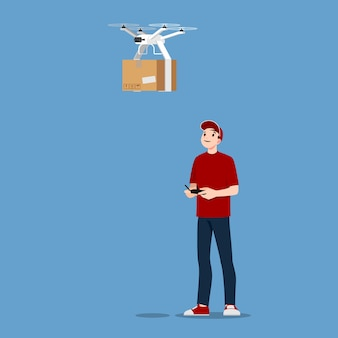 Young handsome delivery man character controlling a drone with wireless remote to deliver parcel box to customer.