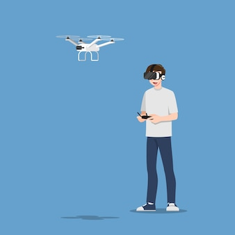 若いハンサムな男のキャラクターは、カメラでドローンマルチコプターを制御するvrメガネを着用します