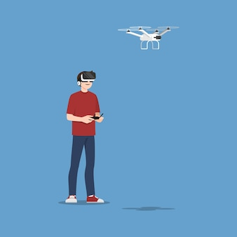 Young handsome man character wear vr glasses controlling a drone multi-copter with camera