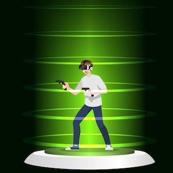 젊은 잘 생긴 남자 캐릭터는 무선 게임 리모컨으로 게임을하는 vr 안경을 착용합니다.