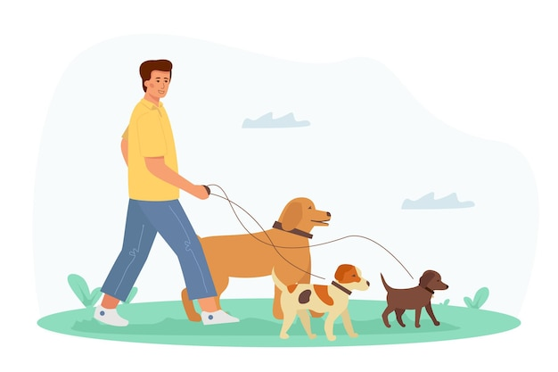 A young handsome man walks with a dog. recreation and leisure with his pets.