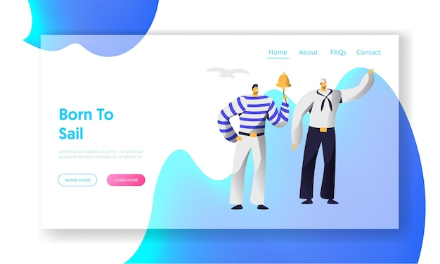 Young handsome sailors at work website landing page